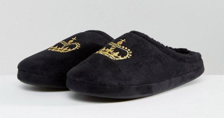 asos men's vegan slippers crown embroidery