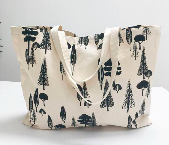 etsy world sale organic cotton tree print tote