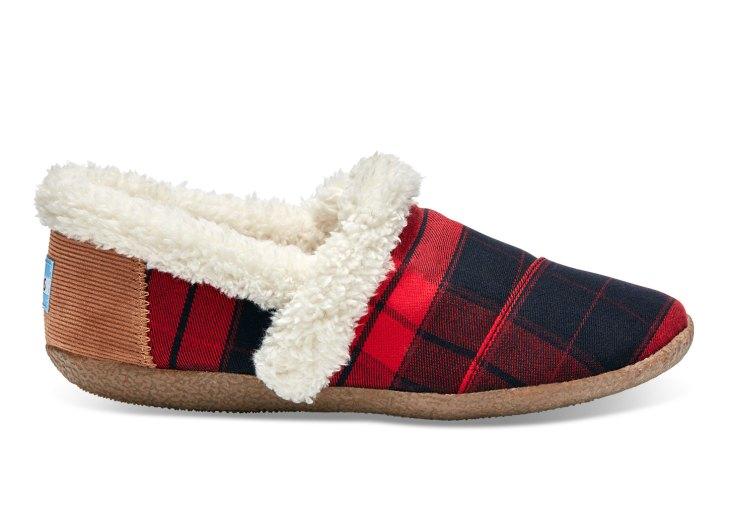 toms vegan slippers plaid red