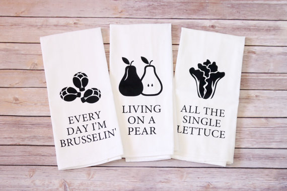 vegan veggie kitchen tea towels puns etsy