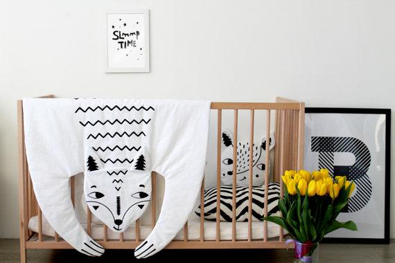 world of etsy sale organic cotton fox animal baby blanket nursery pad