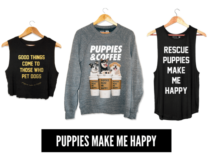 gifts that give back to animals 2018 puppies make me happy donate shirts rescue