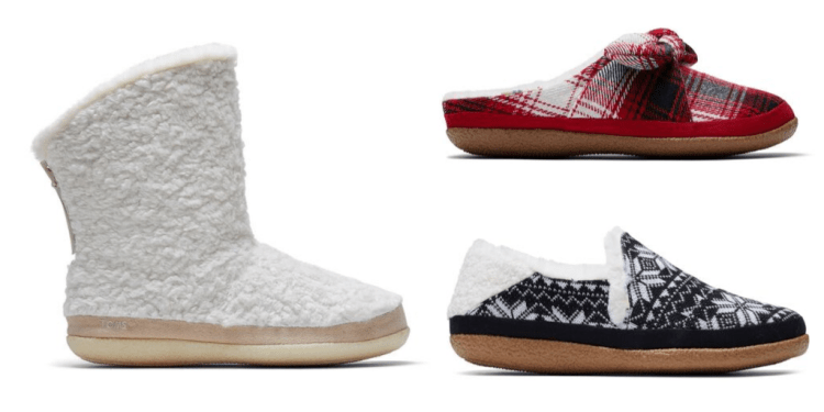 Three pictures of cozy vegan slippers from Toms' 2019 collection