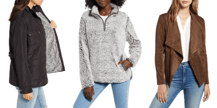 Three fleece and faux suede vegan jackets from Nordstrom