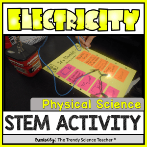 Electricity STEM activity for Physical Science