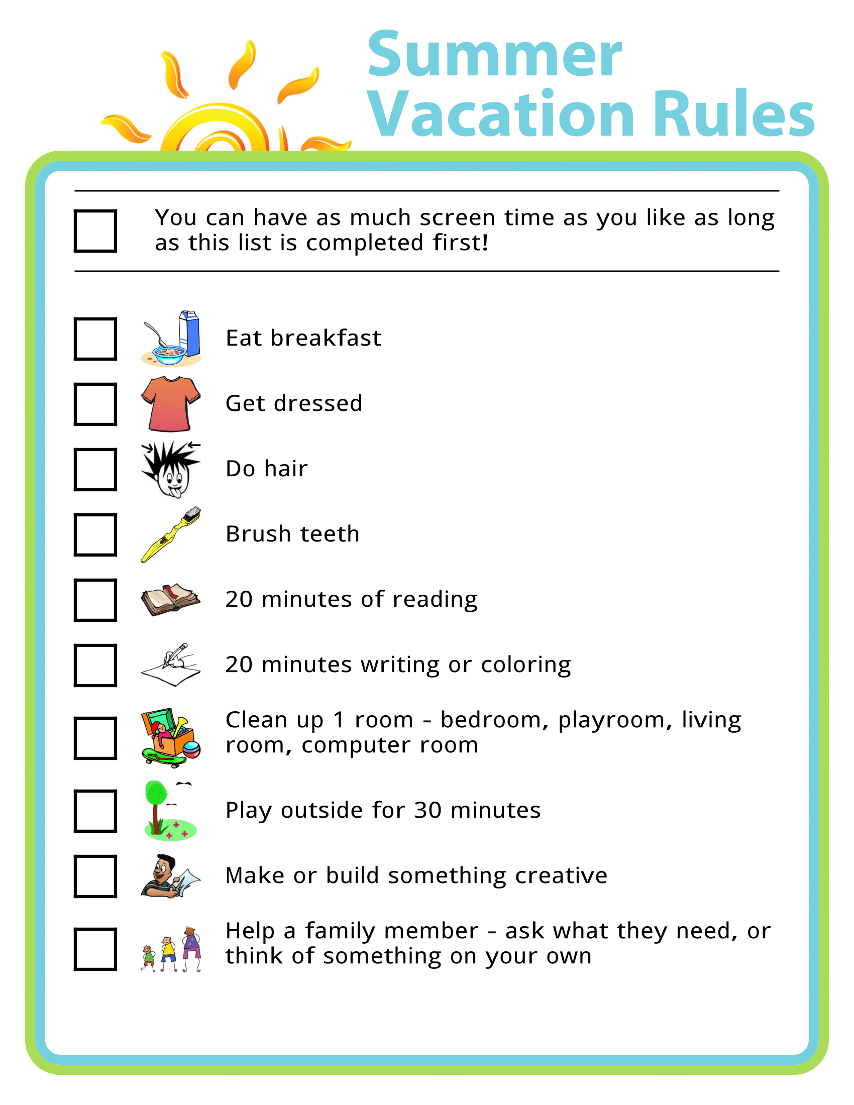 Free Printable Summer Vacation Rules