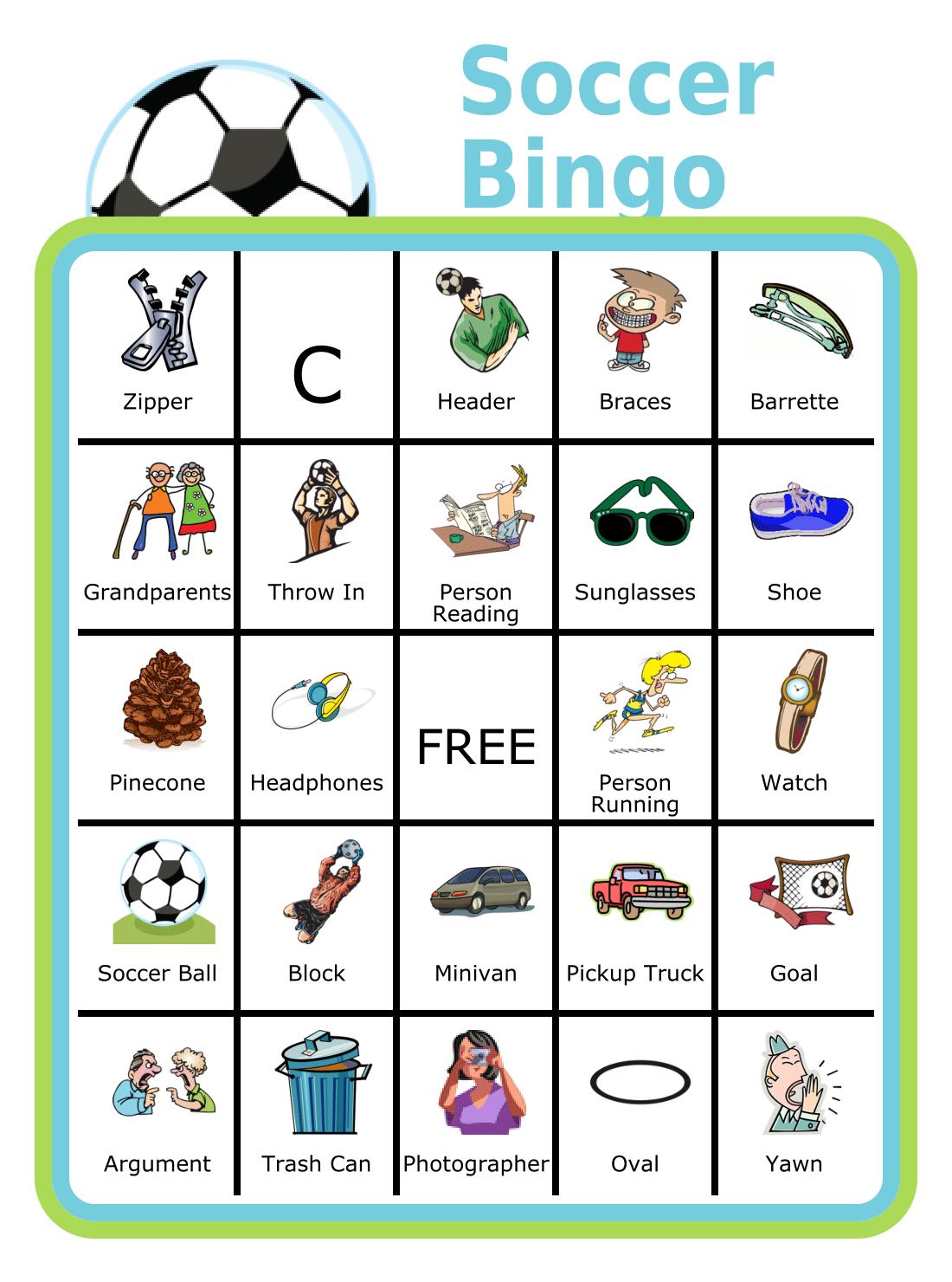 Free Printable Soccer Bingo