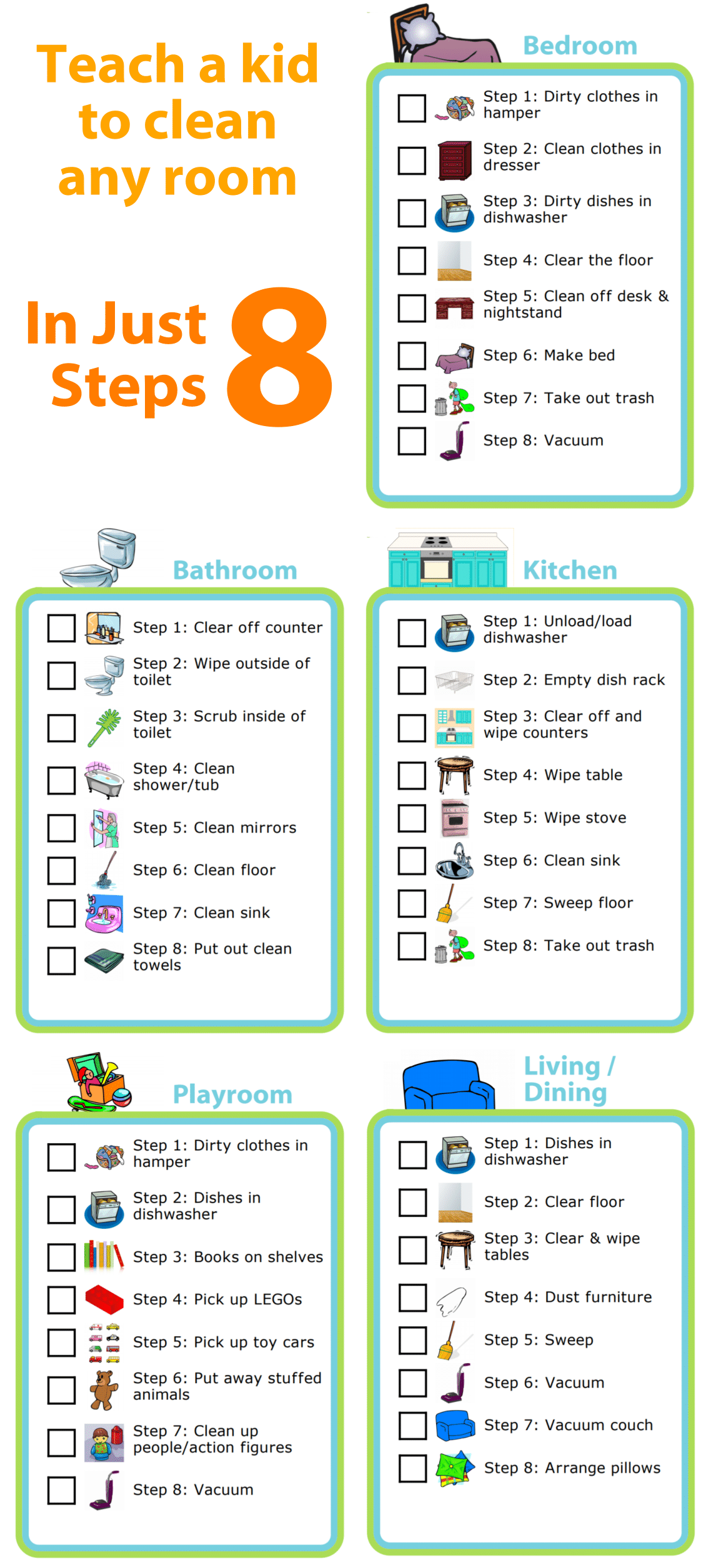 Free Printable Room Cleaning Checklists