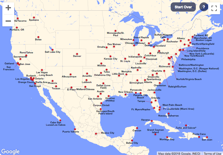 Southwest route map showing all Southwest destinations in the U.S., Caribbean, and Central America