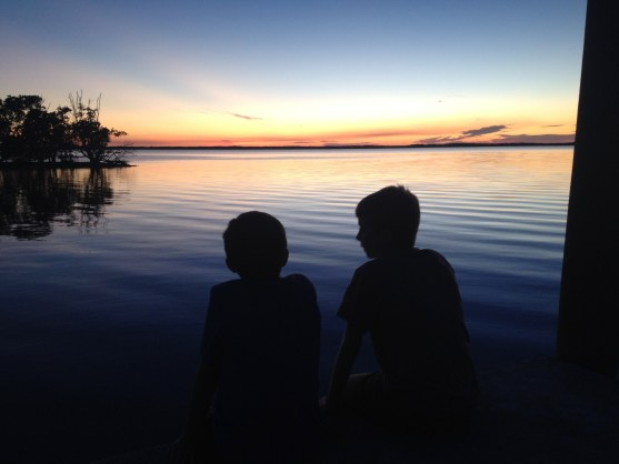 The boys enjoying a quiet sunset in Everglades City in the significantly less-trafficked western end of Everglades National Park
