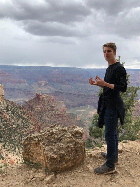 Rock at rim of Grand Canyon