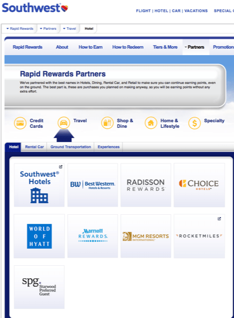 Southwest partners for earning points