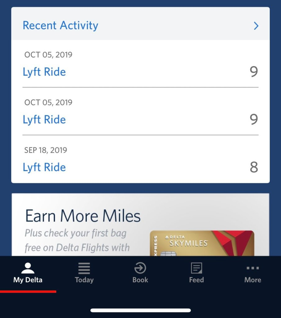 This screenshot of my Delta Skymiles account page shows that I earned Delta SKymiles on a recent Lyft ride