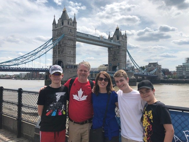 The Trip Takes Us standing in front of the Tower Bridge in London