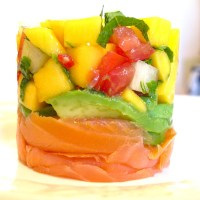 Salmon and Mango Salsa Stack