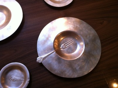 Fork imprint silver plated brass plate by Victoria Delany
