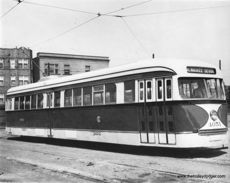 CSL 4051 is shown with an experimental door arrangement, which was tested on the busy Milwaukee Avenue car line.