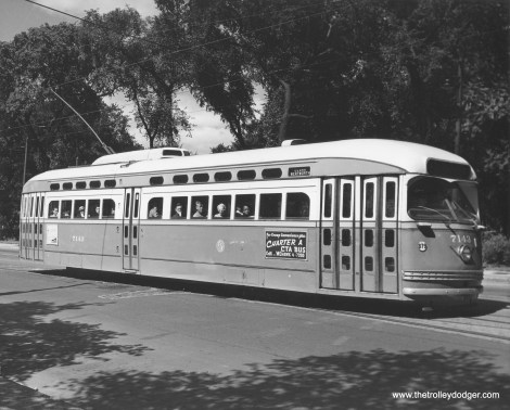 CTA 7143 on Clark Street near Lincoln Park. (Chicago Transit Authority Photo)