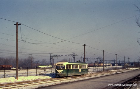 Prewar PCC 4029 running parallel to the Illinois Central electric on the south end of route 4 (Cottage Grove).