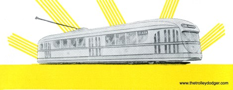 "An artist's rendering of CSL experimental pre-PCC streetcar 7001, built by Brill. It entered service in 1934 and was retired in 1944. It was scrapped in 1959. Note that the car is signed for Clark-Wentworth, the busiest line on the Chicago system. Ironically, while this design resembles the PCC car of 1936, Brill refused to license the patented PCC technology, and as a result, was driven out of the streetcar market within a five years, after building but a few dozen ""Brilliners."""