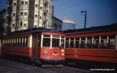 """Car 522, signed for route 56 - Milwaukee, passes 585. Andre Kristopans says, """"The gas holder is the one at Augusta and Grand. This would make the most likely spot Milwaukee and Carpenter."""""""