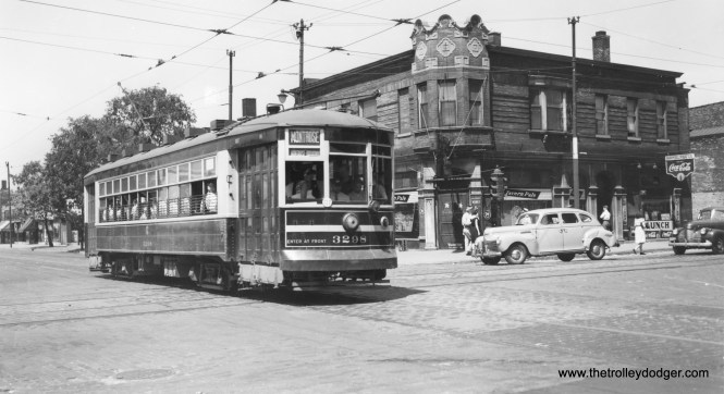 """CSL 3298 on route 78 - Montrose, possibly during WWII. By this time, the western portion of the route was handled by trolley buses. Andre Kristopans adds that this """"MIGHT be Montrose & Pulaski. Building on corner is heavily altered, but window arrangement does match."""" Richard Poemape writes, """" the photo that you have for CSL 3298 on Route 78 - Montrose was taken at the intersection of Montrose and Clark. The building in the background is on the N/W corner."""""""