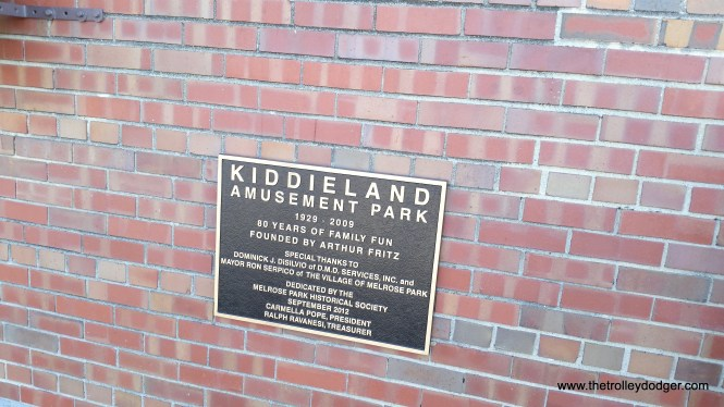 Kiddieland plaque at the Melrose Park Public Library.