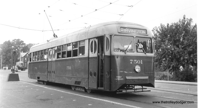 "Car 7501, the only Baltimore ""Brilliner,"" in August 1941. Note the so-called ""tavern"" doors. This car was a sample in anticipation of a larger order that never came. It ran in service from 1939 to 1956. (Jeffrey Winslow Photo)"