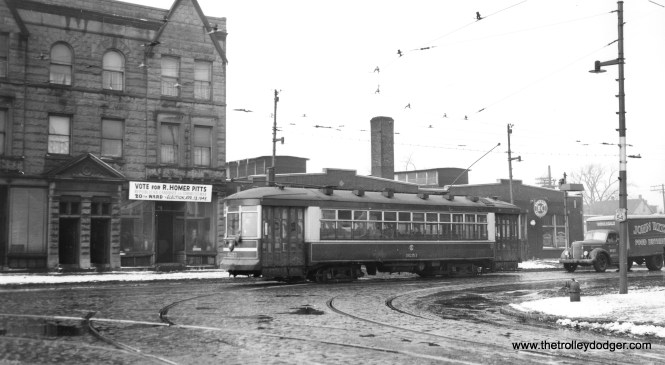 CSL 3251is southbound on State Street at 61st. The date is early 1948, shortly after the CTA takeover, as evidenced by the sign referring to the upcoming aldermanic election. (Joe L. Diaz Photo)
