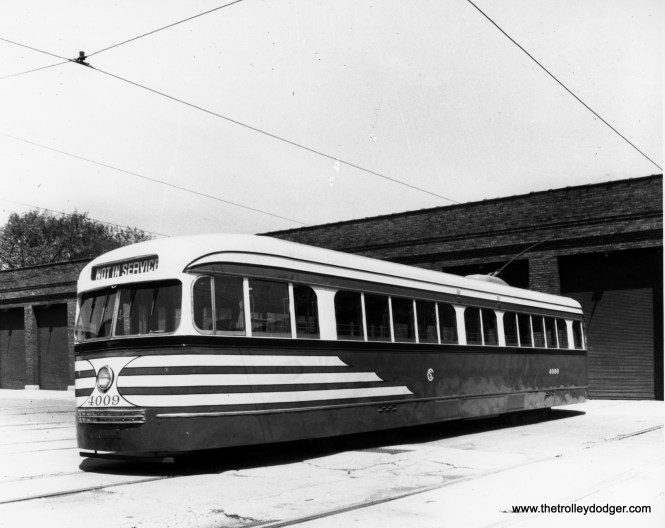 "CSL 4009, in ""tiger stripes,"" at West Shops. These were meant to alert motorists that the streetcars were wider than they might think. (CSL Photo)"