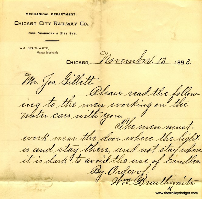 A rare Chicago City Railway Company memo dated November 13, 1893, ordering a reduction in the use of candles.