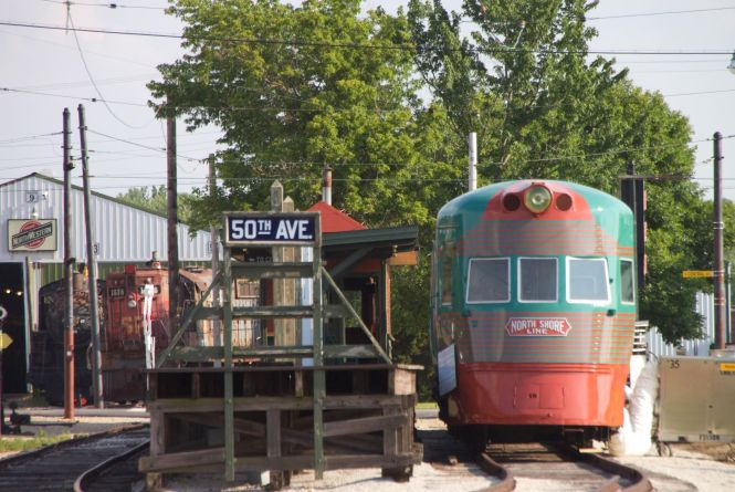 This shows the Liner (car 801A) at IRM in 2013 when the campaign began. We held an open house, arranged for special air conditioning, and gave tours/explanations of the planned restoration project. It was towed to and from the barn and displayed at the 50th Ave Platform.