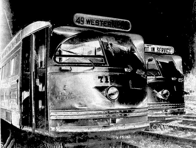 "An artistic ""negative"" view of 7165 and companion at the yard at 77th and Vincennes. But who can be negative when it comes to Chicago PCCs? © Laurence Mack"