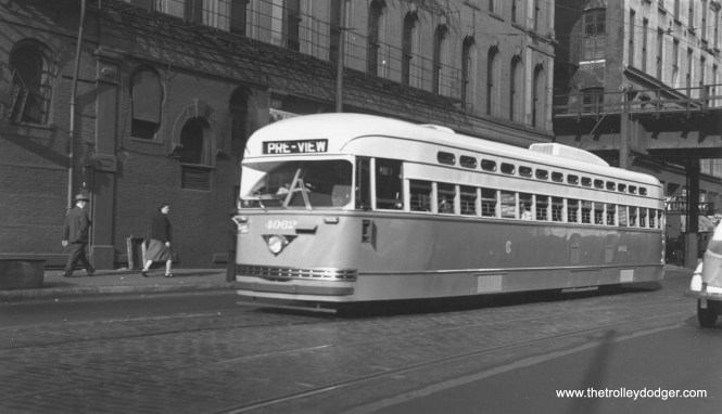 """CSL 4062 in """"Pre-View"""" service, westbound on Harrison at Holden Court on September 17, 1946. (Thomas H. Desnoyers Photo)"""