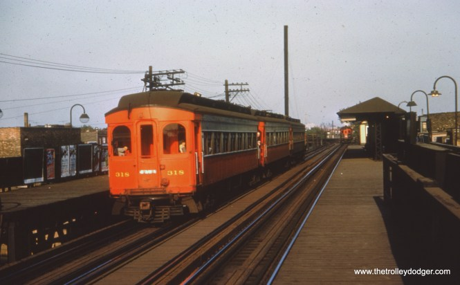#37 - FH: The 318 and two other Jewetts, likely the 316 and 317, westbound at Kedzie with a Pullman rounding Sacramento curve in the background. AK: Kedzie station, CAE stop because of Sears headquarters at Arthington and Kedzie. CTA ran extra buses for Sears until Sears moved downtown.