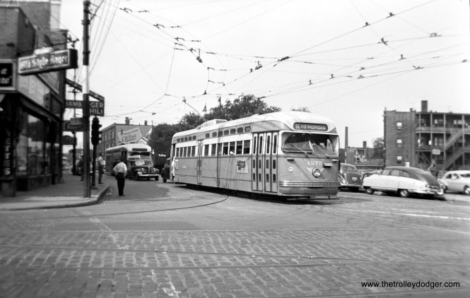 """Jeff Wien writes, """"CTA 4275 at Clark and Devon turning east onto Devon on route 36: Broadway-State."""""""