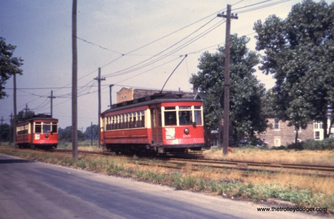 CTA 188 heads west on 63rd Place near Austin during the summer of 1952. By this time, red cars had replaced PCCs on 63rd.