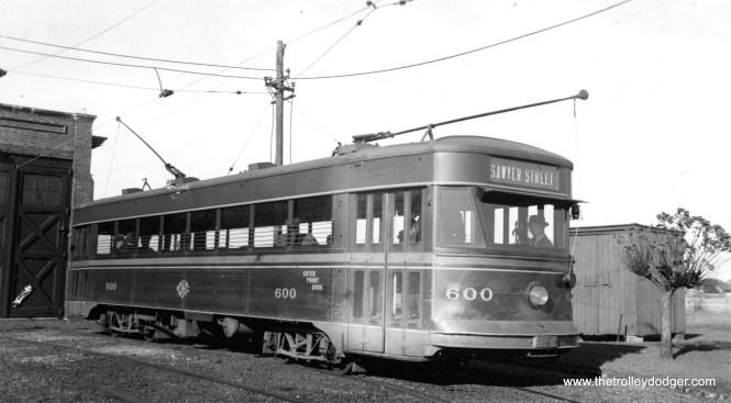 "Union Street Railway 610, an Osgood-Bradley ""Electromobile,"" built in 1929, shown in New Bedford, MA."