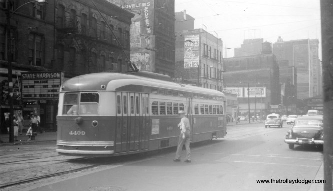 CTA 4409 heads north on State near Harrison on route 36, July 22, 1955.