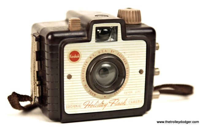 My own first camera, a Kodak Brownie Holiday Flash camera, circa 1963. It took size 127 roll film, then the most popular format on the market.