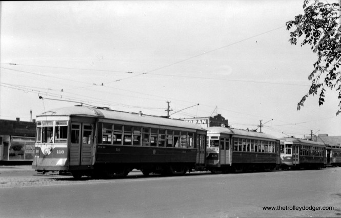 C&WT 116, 115, and 158 are lined up at Cermak and Kenton, the eastern end of the LaGrange line. A CSL streetcar is at rear. This is the border between Cicero and Chicago.