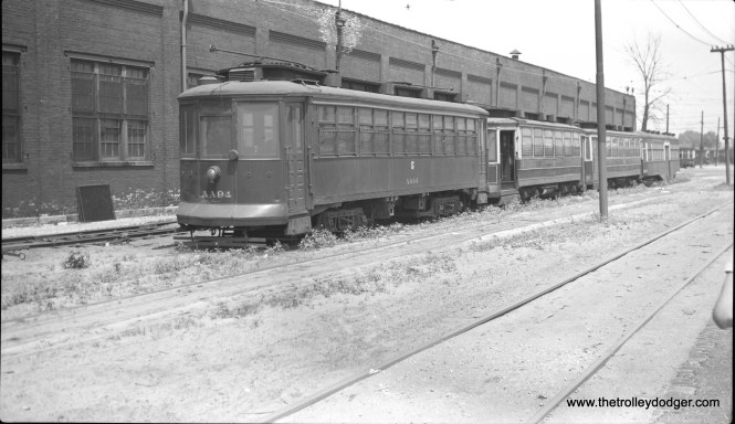 CTA work car AA94, the former CSL 2842, at 77th and Vincennes on July 4, 1949. (Charles K. Wilhoft Photo) There is a similar, although not identical photo in the Hicks Car Works article on car 2843.