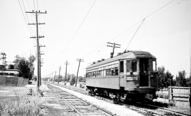 Car 168 at Fort Sheridan on the Shore Line Route on July 24, 1955, the last day of service.
