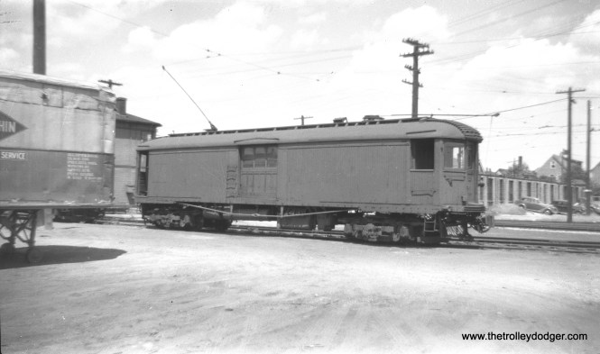 Merchandise dispatch car 228 at Harrison Street, Milwaukee, on July 17, 1947. This car is now preserved at the East Troy Electric Railroad in Wisconsin.