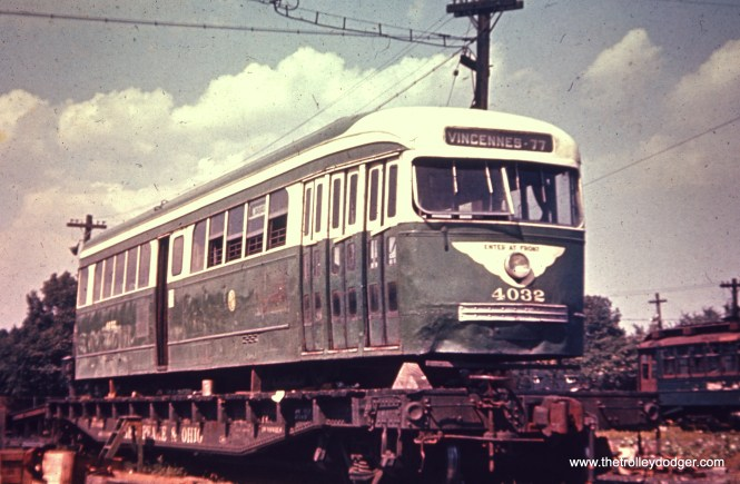 CTA Prewar PCC 4032 being shipped out from South Shops for scrapping. According to the list compiled by Andre Kristopans, the date is around August 13, 1956, about two months after streetcar service ended on route 49 Western.