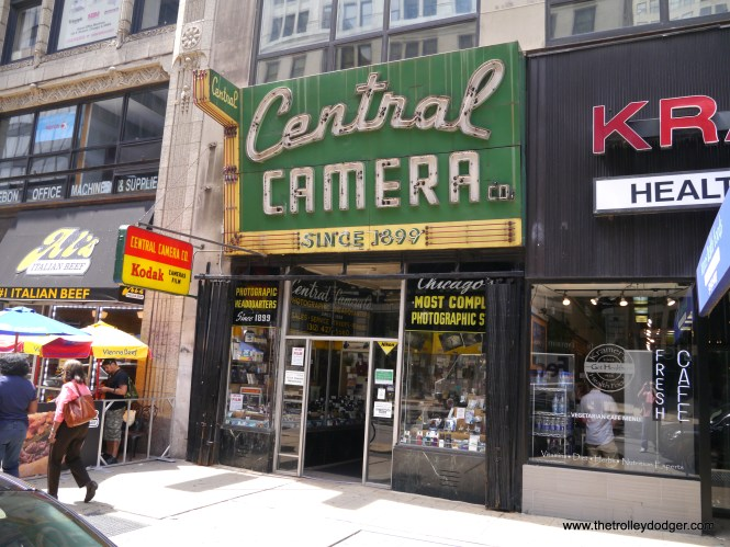 The iconic facade of Central Camera, one of the last remaining old-style camera stores in the Midwest.