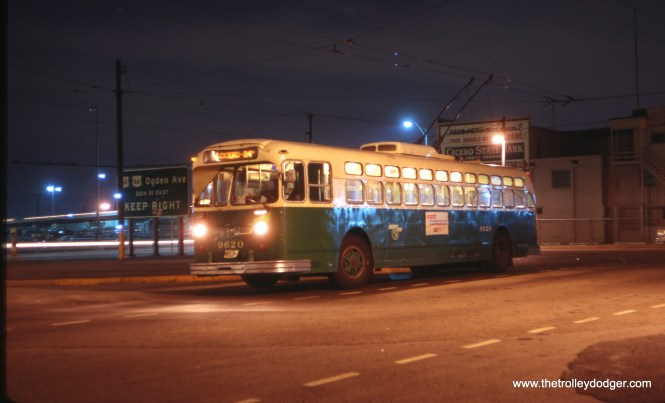 CTA Marmon-Harrington trolley bus 9620 at the Cicero/24th terminal on July 3, 1967. (Stephen M. Scalzo Photo)