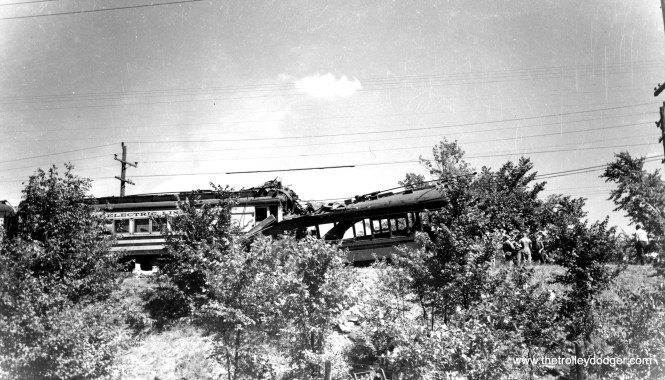 The tragic result of a head-on collision between two Speedrail cars on a blind curve on September 2, 1950. Heavyweight cars 1192-1193, at left, ran into lightweight articulated cars 39-40. Ten people were killed and dozens were injured.
