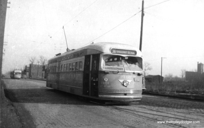 PCC 7116 is laying over at 119th and Morgan before heading north on route 36 - Broadway-State. (Railway Negative Exchange Photo)