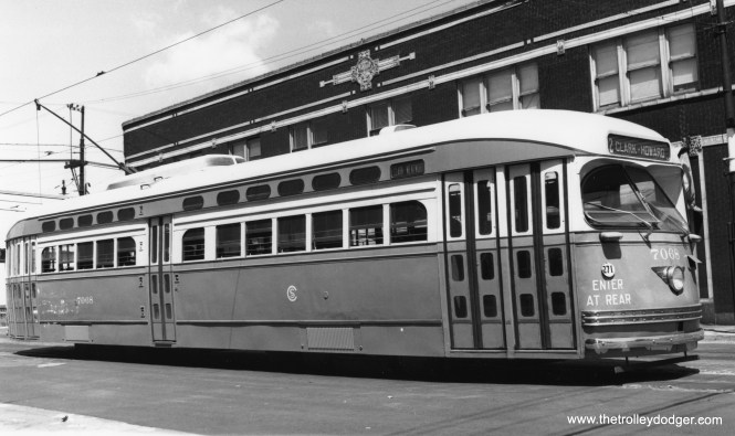 PCC 7068 at 81st and Halsted on June 9, 1947. (James J. Buckley Photo, Krambles-Peterson Archive)